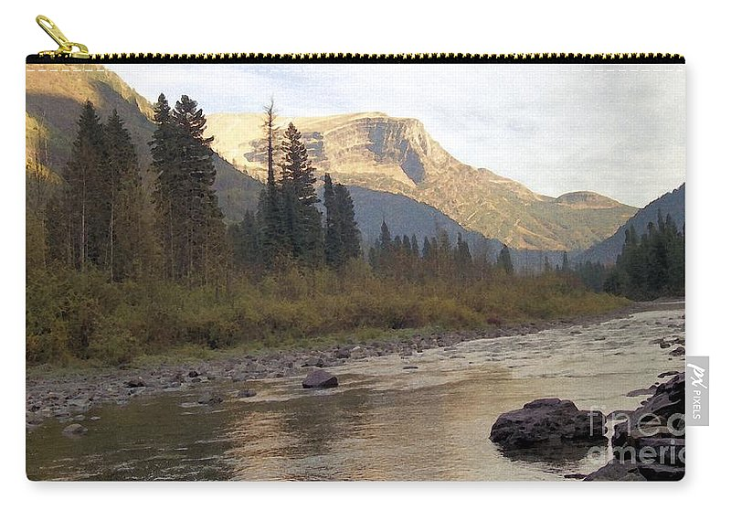 Flathead River Carry-all Pouch featuring the mixed media Flathead River by Richard Rizzo