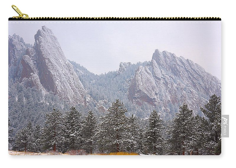 Flatirons Carry-all Pouch featuring the photograph Flatirons From The South Boulder Colorado by James BO Insogna