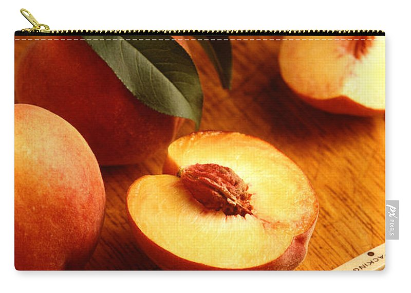 Peach Carry-all Pouch featuring the photograph Flavorcrest Peaches by Photo Researchers