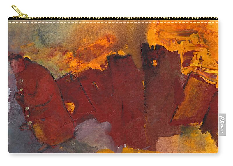 Fantasy Carry-all Pouch featuring the painting Fleeing The Inferno by Miki De Goodaboom