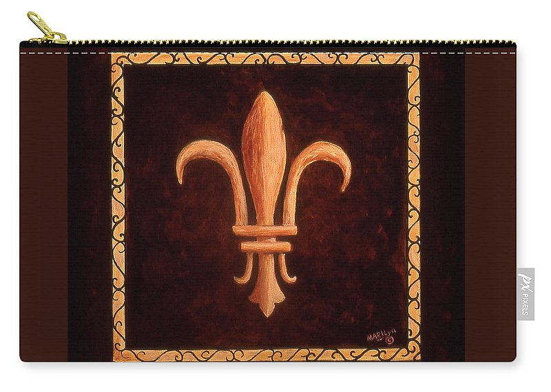France Carry-all Pouch featuring the painting Fleur De Lys-clovis by Marilyn Dunlap