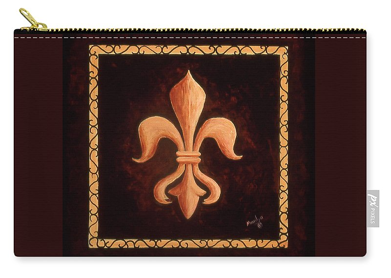 French Symbols Carry-all Pouch featuring the painting Fleur De Lys-king Louis Xv by Marilyn Dunlap