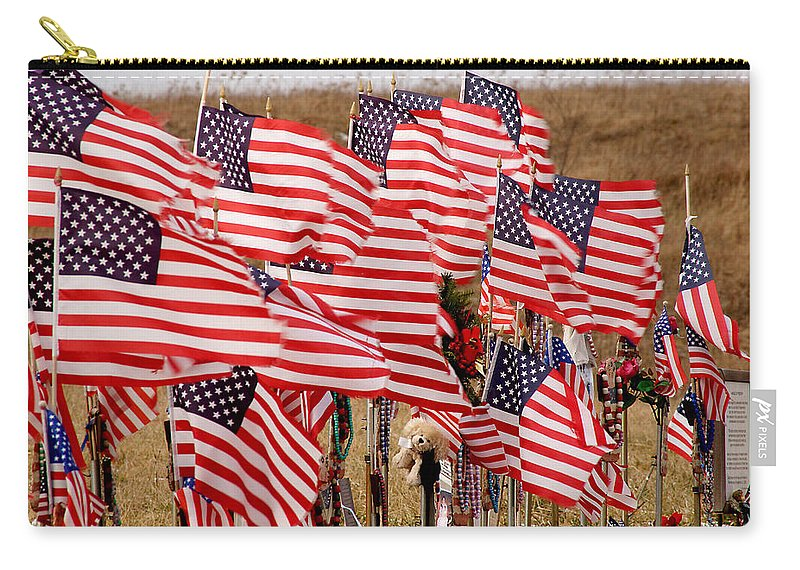 Flags Carry-all Pouch featuring the photograph Flight 93 Flags by Jean Macaluso
