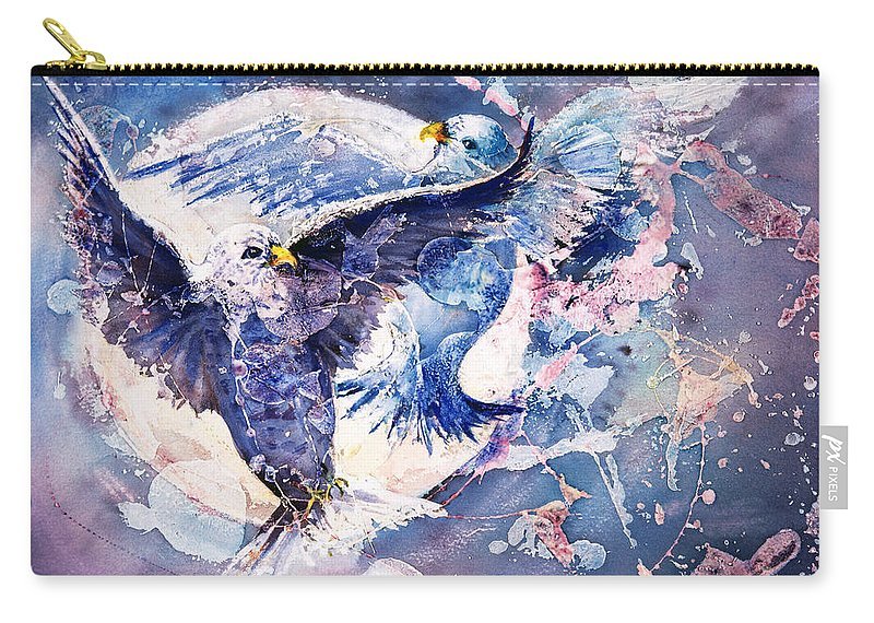 Doves Carry-all Pouch featuring the painting Flight Of The Doves by Connie Williams