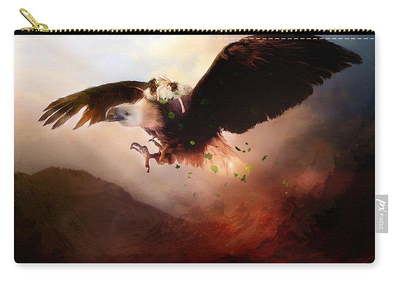 Children Carry-all Pouch featuring the digital art Flight Of The Eagle by Karen Koski