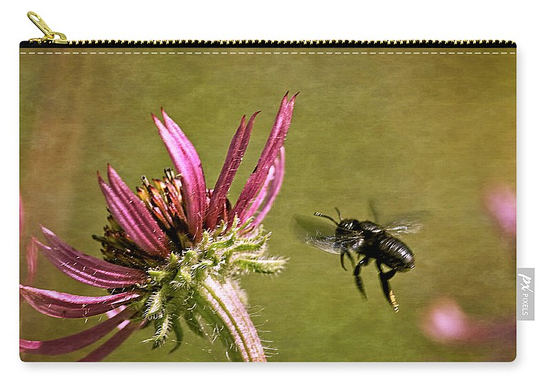 Echinacea Tennesseensis Carry-all Pouch featuring the photograph Flight Of The Mason Bee by Laura Vilandre