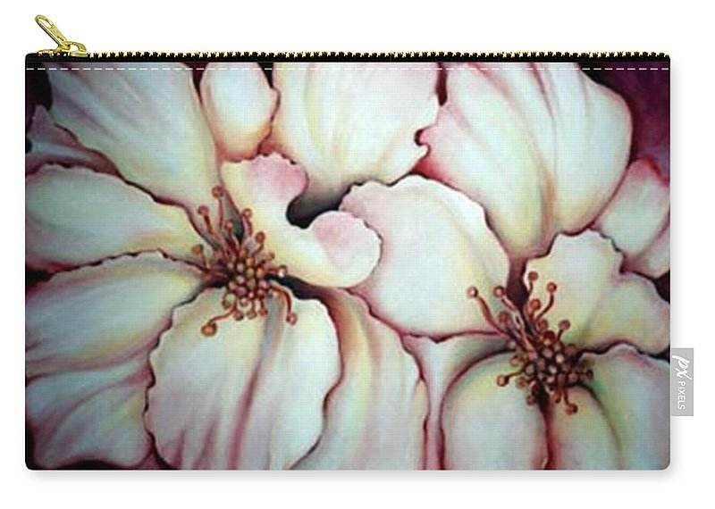 White Flower Carry-all Pouch featuring the painting Flighty Floral by Jordana Sands
