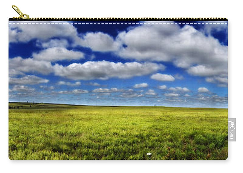 Flint Hills Carry-all Pouch featuring the photograph Flint Hills Panorama 1 by Eric Benjamin