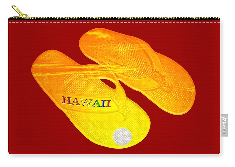 David Lawson Photography Carry-all Pouch featuring the photograph Flip Flops Kona Sunset by David Lawson