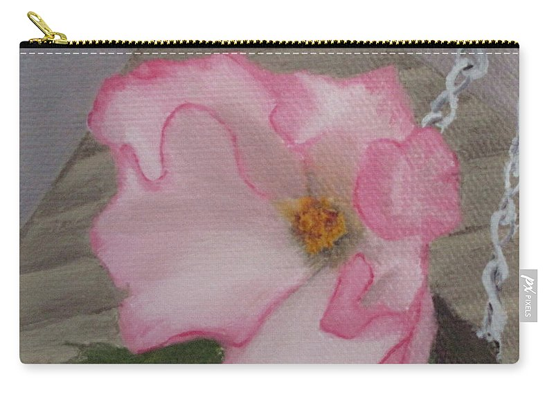 Flower Carry-all Pouch featuring the painting Flirty Begonia by Lea Novak