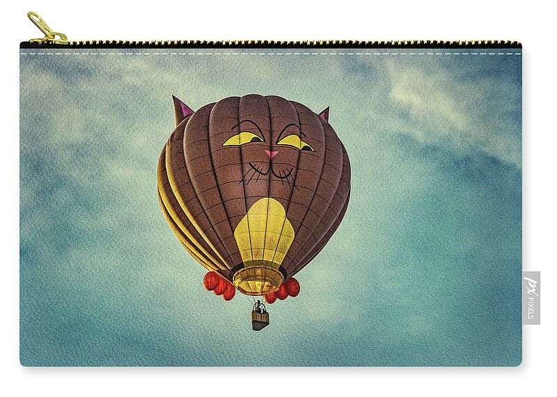 Cat Carry-all Pouch featuring the photograph Floating Cat - Hot Air Balloon by Bob Orsillo