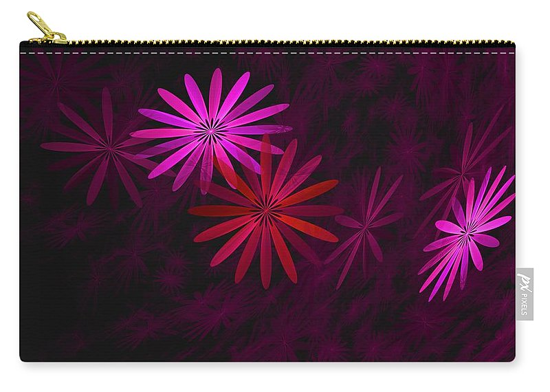 Fantasy Carry-all Pouch featuring the digital art Floating Floral - 006 by David Lane