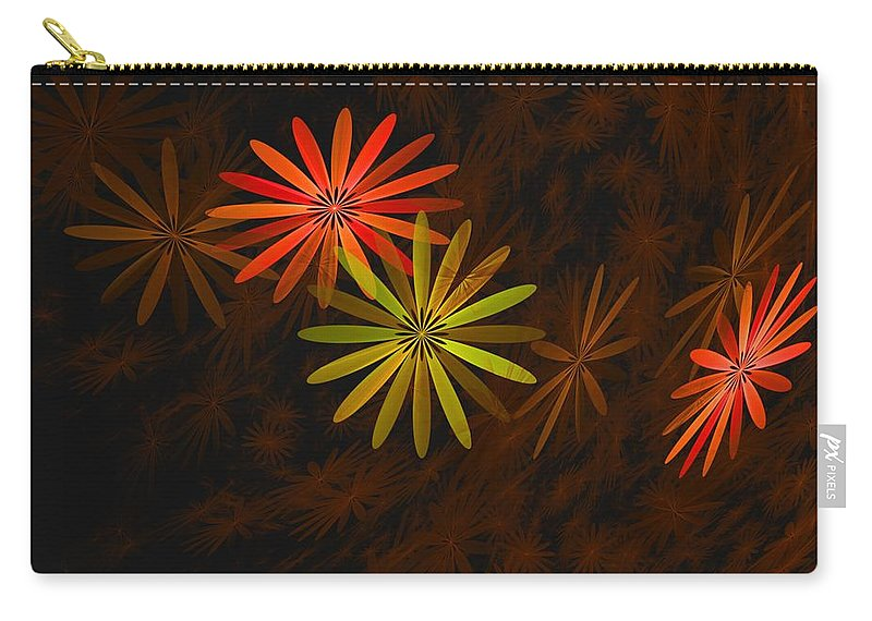 Digital Photography Carry-all Pouch featuring the digital art Floating Floral-008 by David Lane