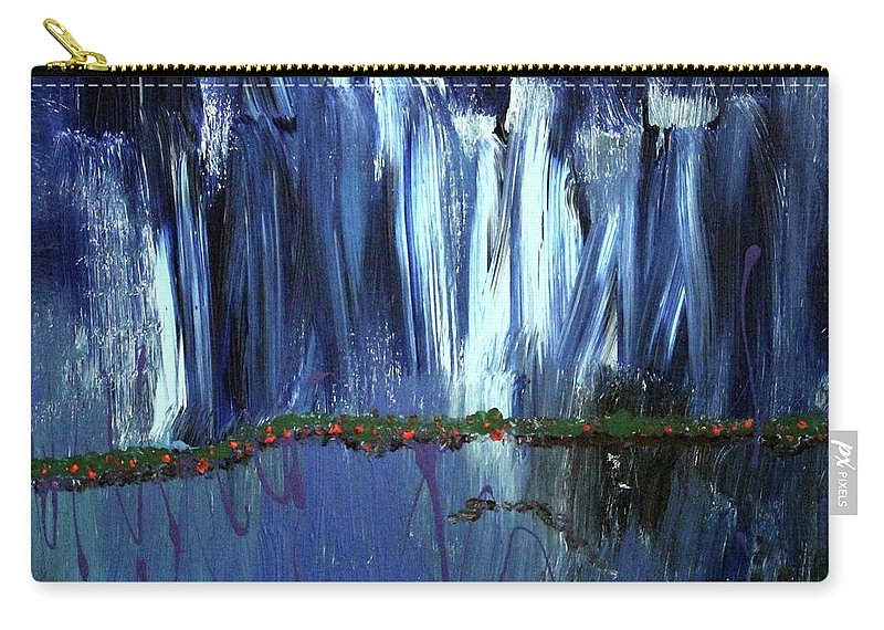 Blue Carry-all Pouch featuring the painting Floating Gardens by Pam Roth O'Mara