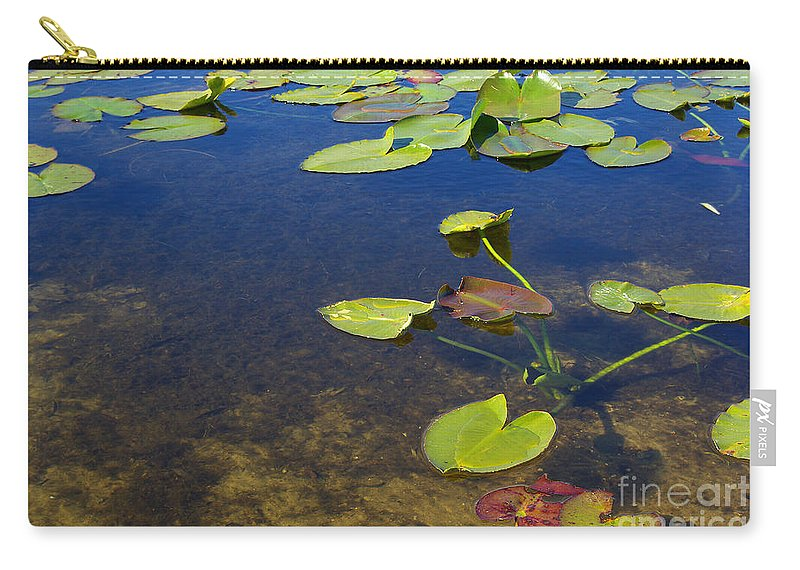 Leaves Carry-all Pouch featuring the photograph Floating Leaves by Zal Latzkovich