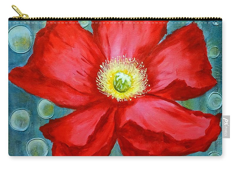 Red Poppy Carry-all Pouch featuring the painting Floating Poppy by Brigitta Richter