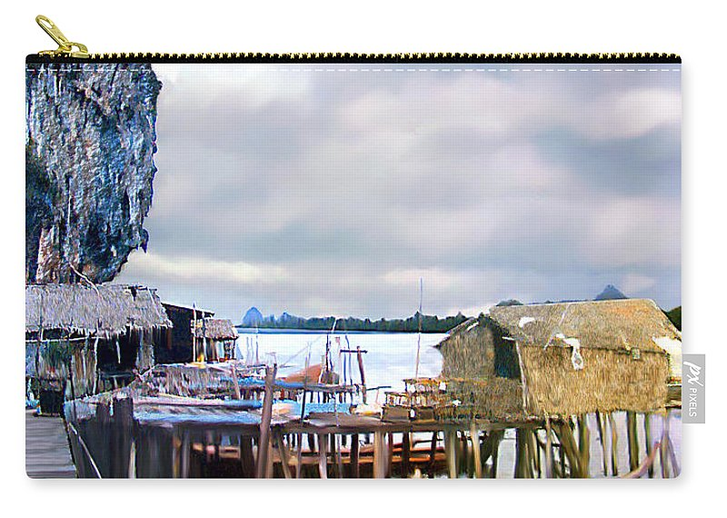 Village Carry-all Pouch featuring the photograph Floating Village Thailand by Kurt Van Wagner