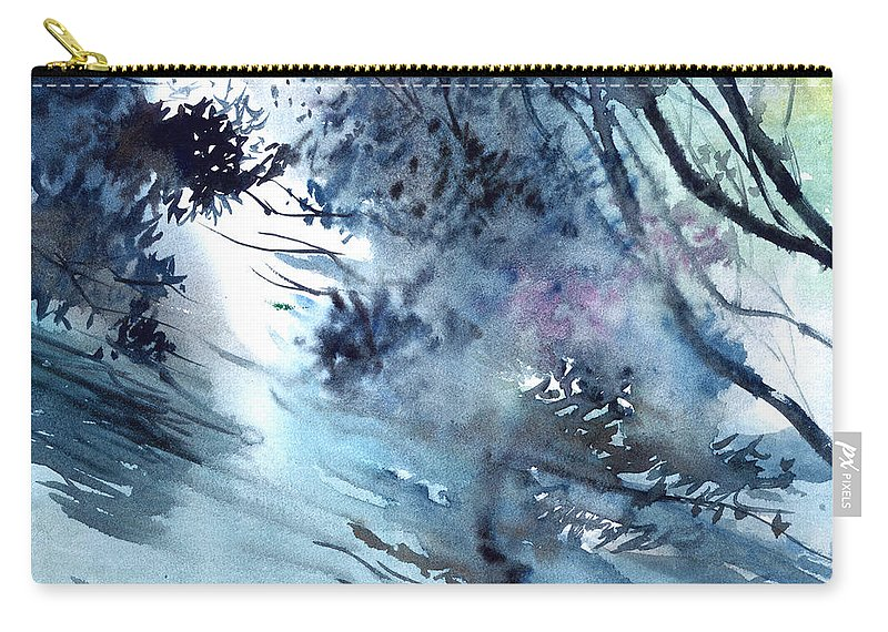 Floods Carry-all Pouch featuring the painting Flooding by Anil Nene