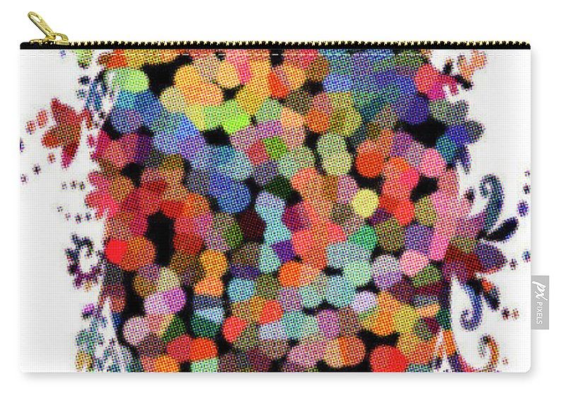 Floral Carry-all Pouch featuring the digital art Floral Bouquet Abstract With Dots by Genevieve Esson