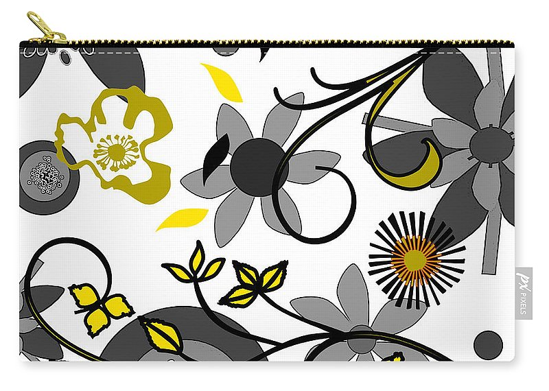 Floral Carry-all Pouch featuring the digital art Floral Collision by Ruth Palmer