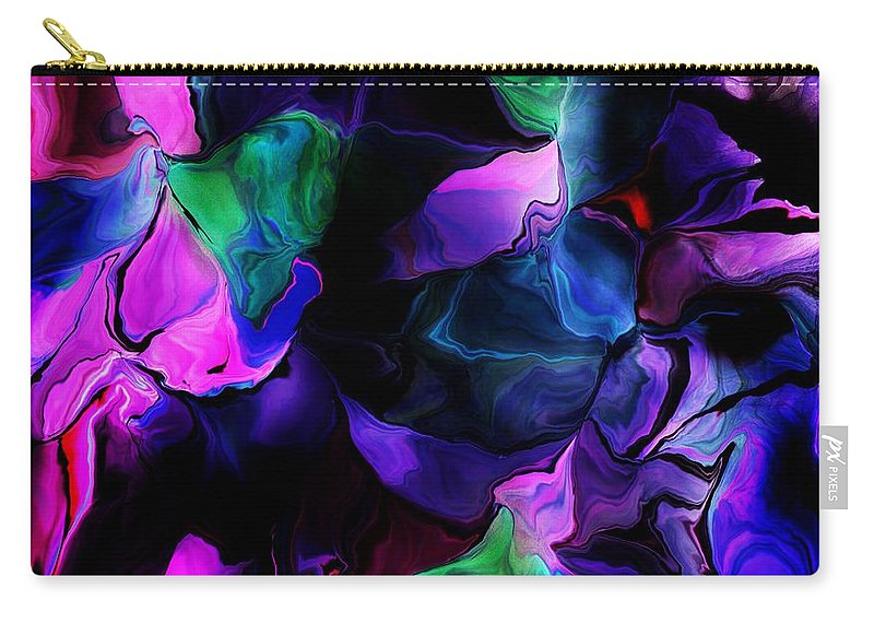 Fine Art Carry-all Pouch featuring the digital art Floral Expressions 080616-2 by David Lane