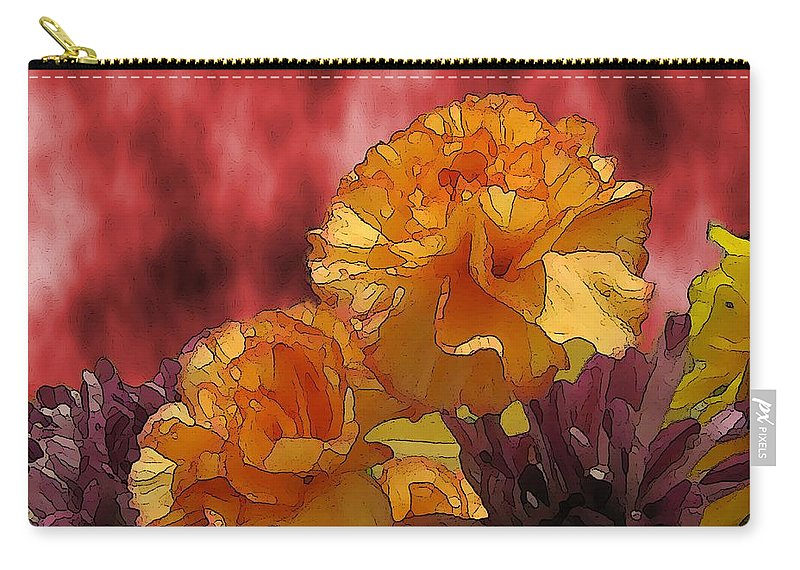 Flowers Carry-all Pouch featuring the digital art Floral Fiesta by Tim Allen