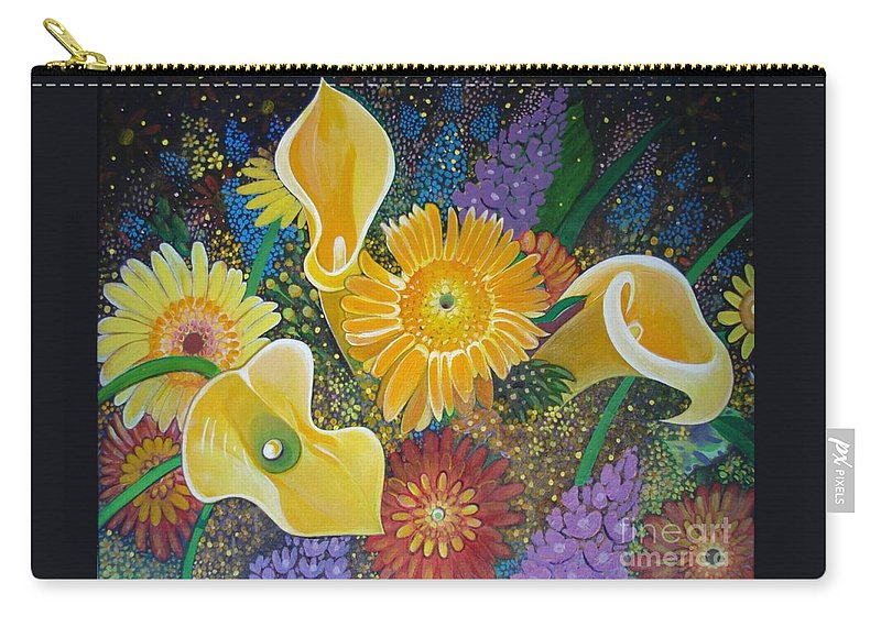 Flowers Carry-all Pouch featuring the painting Floral Fireworks by Helena Tiainen