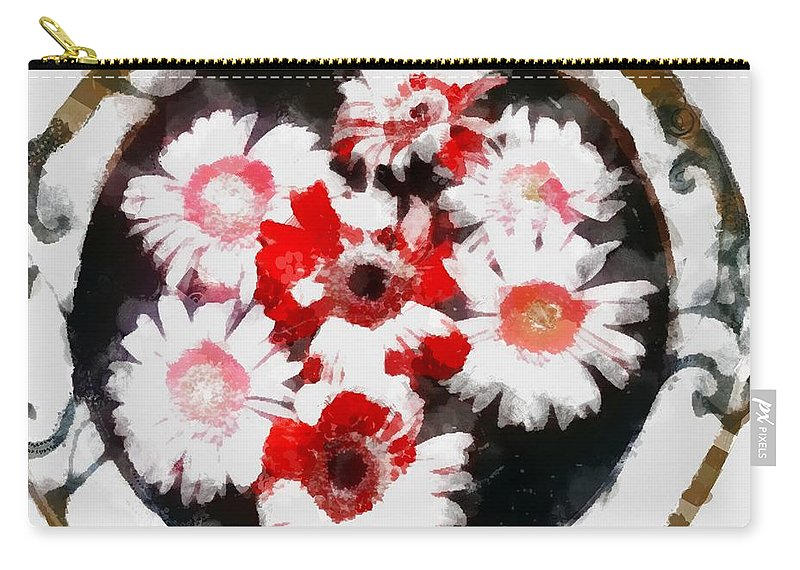 Floral Hotty Totty Carry-all Pouch featuring the digital art Floral Hotty Totty by Catherine Lott