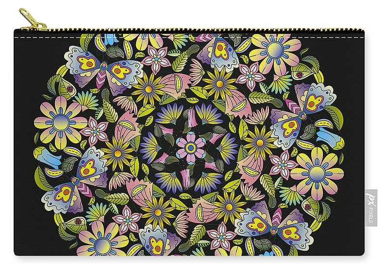 Mandala Carry-all Pouch featuring the digital art Floral Mandala Pattern by Stanley Wong