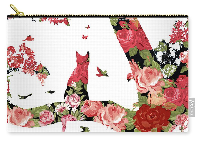 Floral Carry-all Pouch featuring the photograph Floral Minimalist Style Cat, Tree And Birds by Stephanie Laird