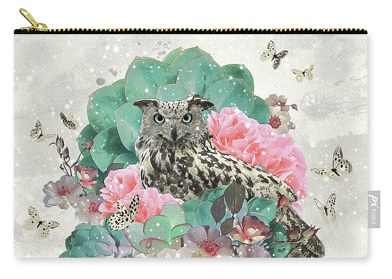 Owl Carry-all Pouch featuring the digital art Floral Owl by Donika Nikova