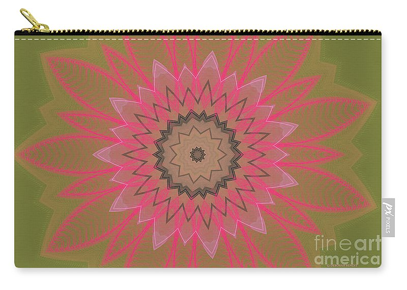 Floral Carry-all Pouch featuring the digital art Floral Petals With Hearts by Deborah Benoit