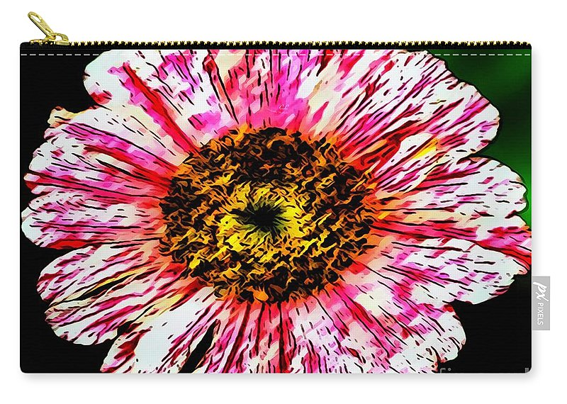 Floral Red And White Painting Carry-all Pouch featuring the painting Floral Red And White Painting by Catherine Lott