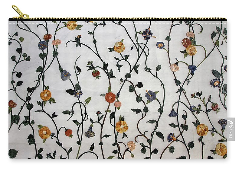 Floral Satin Carry-all Pouch featuring the drawing Floral Satin by Tylissa Lewis