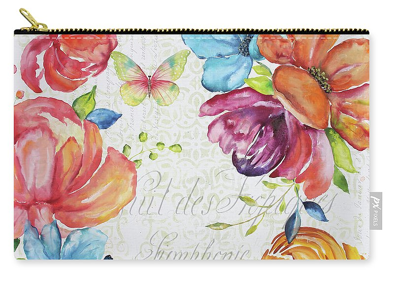 Floral Carry-all Pouch featuring the painting Floral Symphonie by Jean Plout