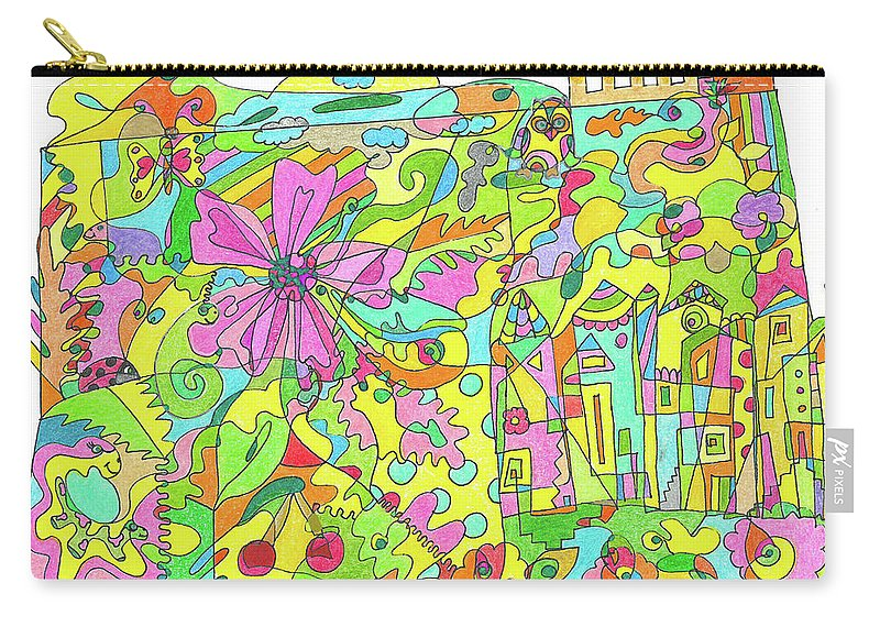 Flowers Carry-all Pouch featuring the drawing Floral World by Branislava Gajic
