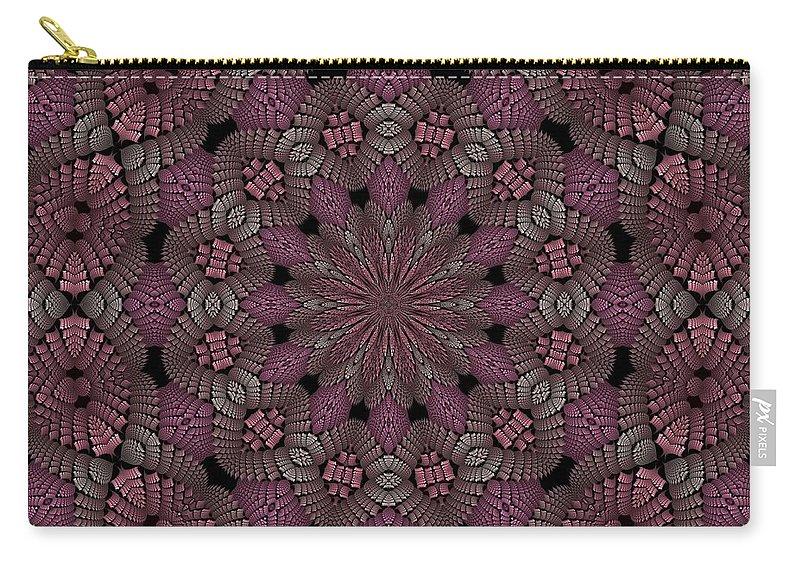 Carry-all Pouch featuring the digital art Florametric Mandala-12 by Doug Morgan