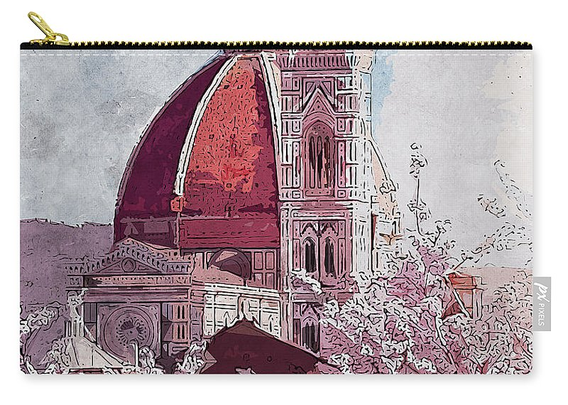 Florence Sunset Carry-all Pouch featuring the painting Florence - 16 by Andrea Mazzocchetti