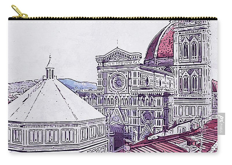Florence Sunset Carry-all Pouch featuring the painting Florence - 19 by Andrea Mazzocchetti