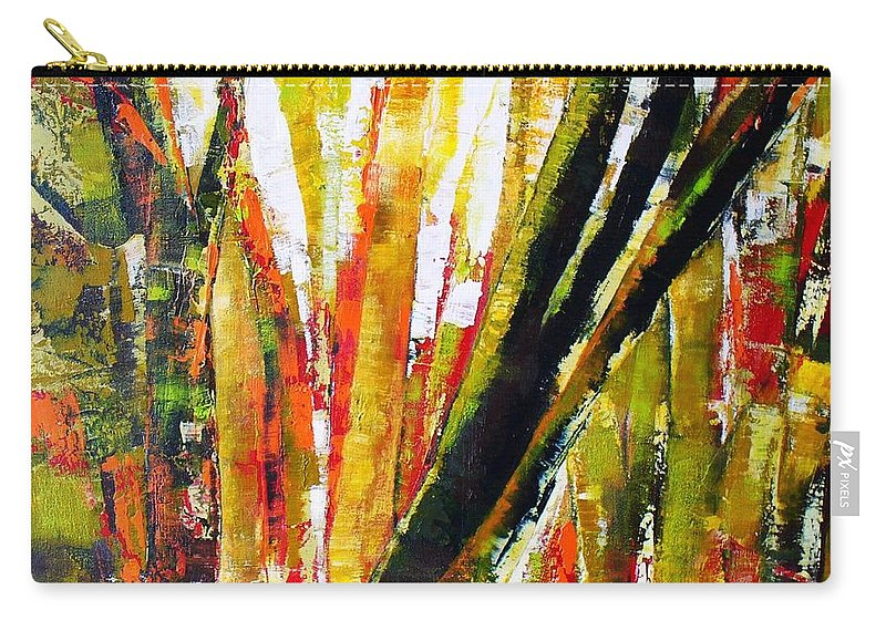 Abstract Trees Carry-all Pouch featuring the painting Floresta Vi by Fernanda Cruz