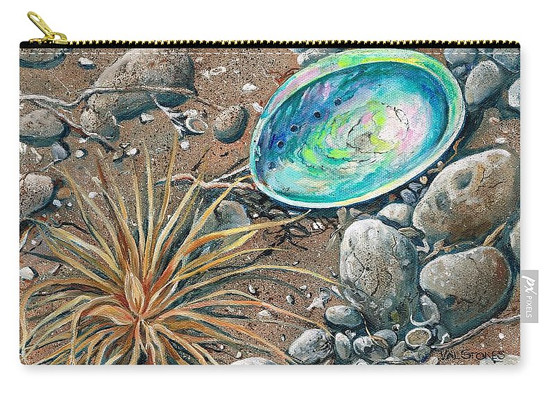 Flotsam Carry-all Pouch featuring the painting Flotsam Finds by Val Stokes