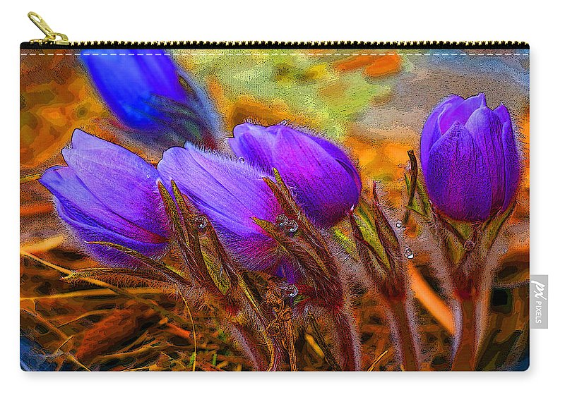 Flowers Carry-all Pouch featuring the photograph Flourescent Flowers by Heather Coen