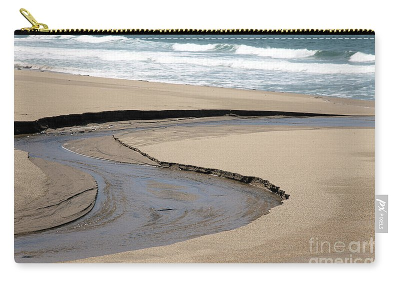 black And White Carry-all Pouch featuring the photograph Flow - Scott Creek by Amanda Barcon