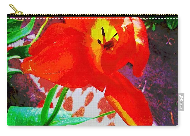 Flower Carry-all Pouch featuring the pyrography Flower by Amber Carpenter