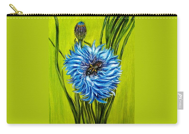 Floral Carry-all Pouch featuring the painting Flower and Bee oil painting by Natalja Picugina