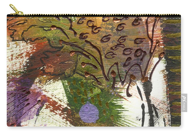 Purple Carry-all Pouch featuring the mixed media Flower And Leaves II by Angela L Walker