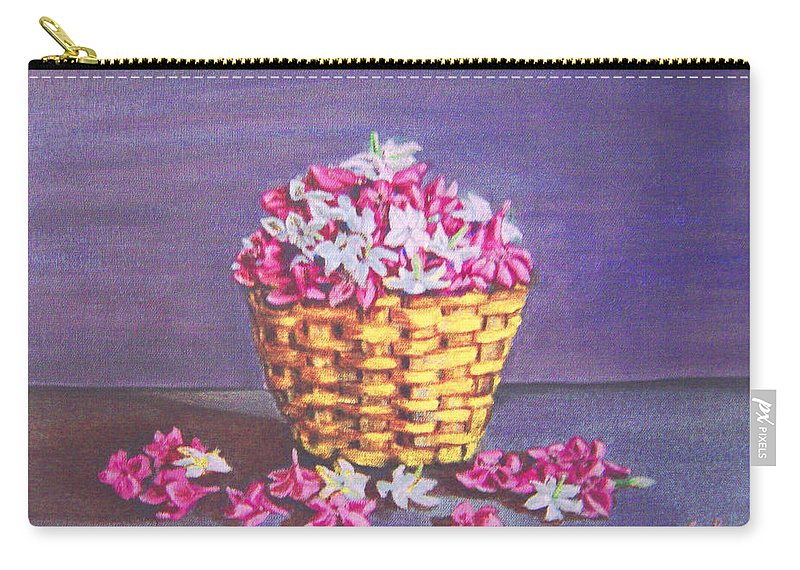 Flower Carry-all Pouch featuring the painting Flower Basket by Usha Shantharam