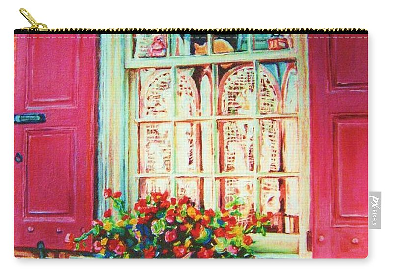 Flower Box Carry-all Pouch featuring the painting Flower Box And Pink Shutters by Carole Spandau