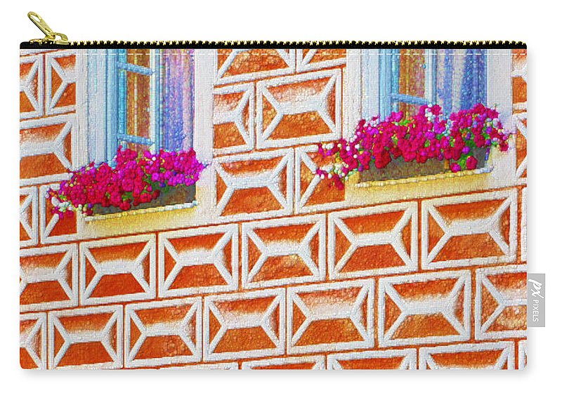 Sgraffito Carry-all Pouch featuring the painting Flower Boxes In Slavonice by Jeelan Clark