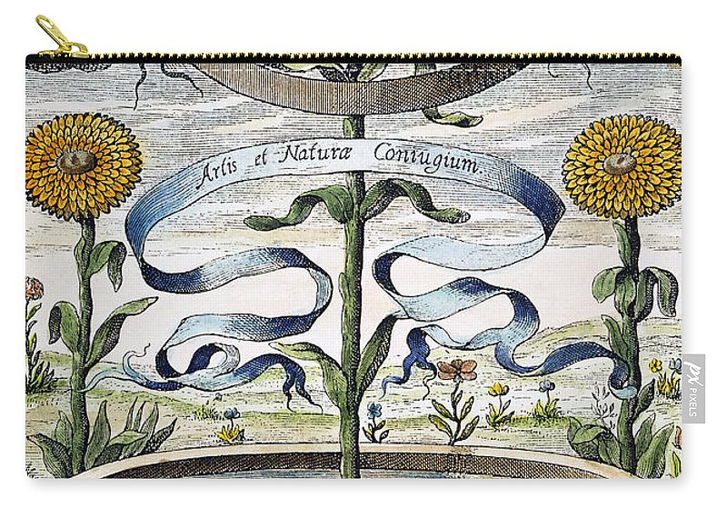 1643 Carry-all Pouch featuring the photograph Flower Clock, 1643 by Granger